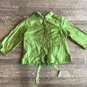 Vintage Raw Silk Blouse with Polka Dot Accents
